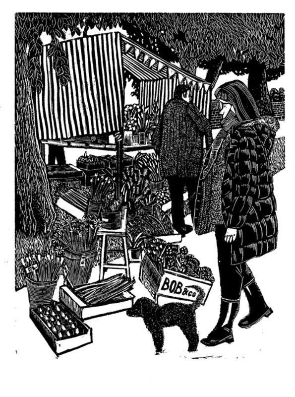 My wood engraving 'Farmers market' has been accepted to the 4th triennial wood engraving exhibition to tour USA